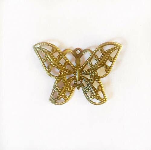Antique Gold 3cm x10 Butterfly Embellishments Pendant Craft Charms Silver