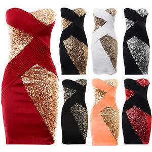 New-Ladies-Boobtube-Sequin-Cross-Contrast-Plain-Back-Bodycon-Women-s-Party-Dress