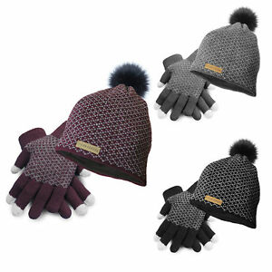 Clear-Creek-Women-039-s-Insulated-Pom-Hat-and-Touch-Screen-Gloves-Set