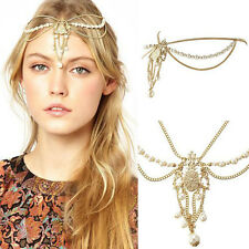 Boho Punk Hair Crown Cuff Headband Headwrap Headdress Tassel Chains Gothic Gifts