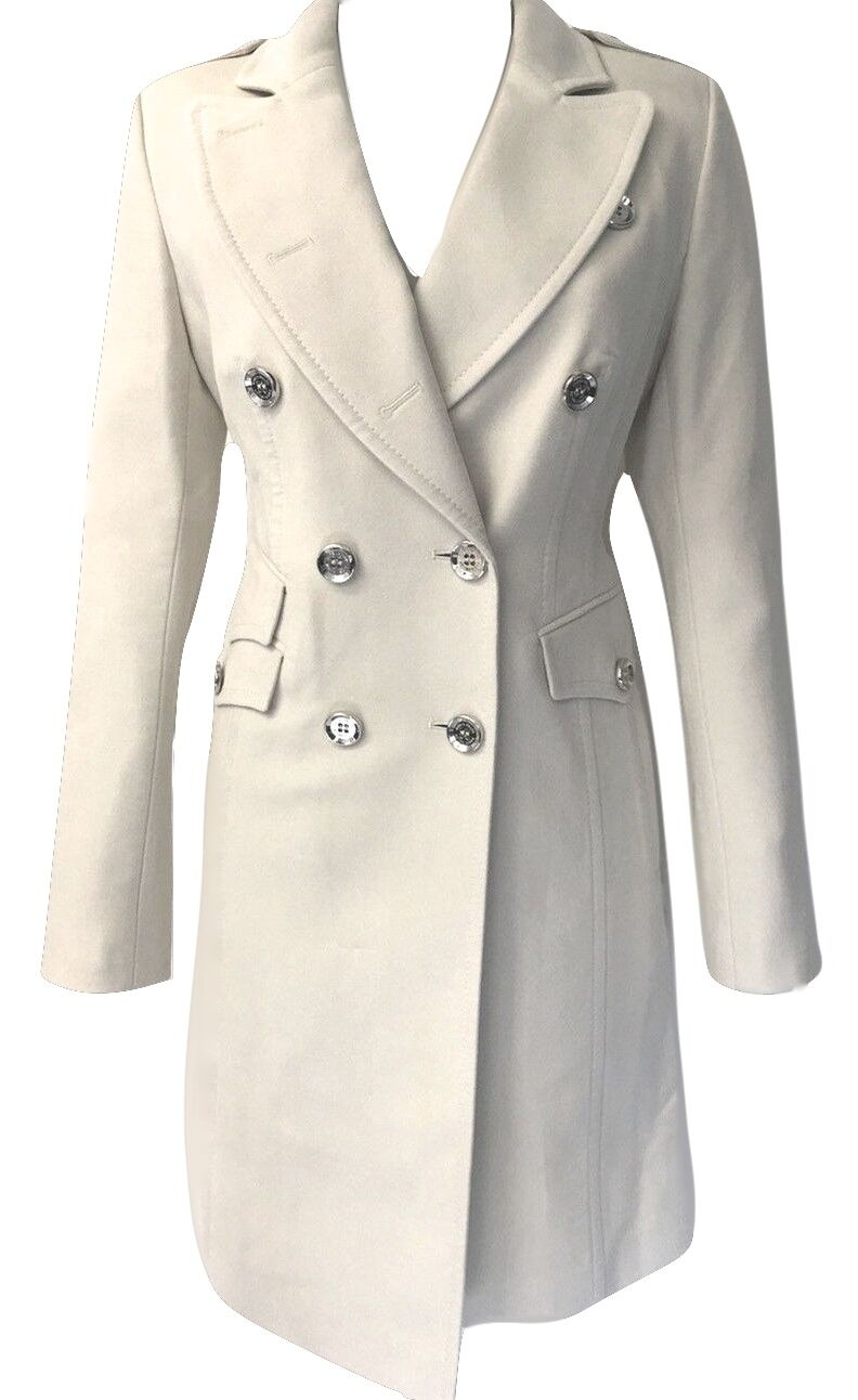 Karen Millen Cream Stone Reefer Signature Moleskin Military Long Coat Womens 14