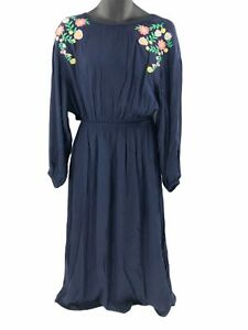 Moon-River-Womens-Embroidered-Maxi-Dress-Blue-Elastic-Waist-Back-Cut-Out-M-New
