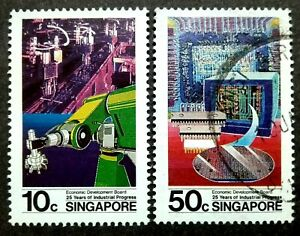 Singapore-1986-25th-Years-Of-Industrial-Progress-10c-amp-50c-2v-Used