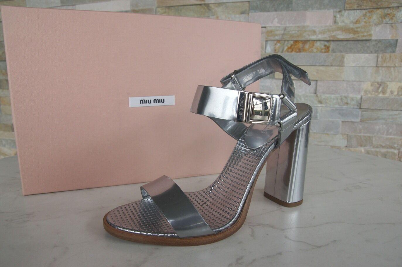 Luxus MIU MIU silber Gr 40 Sandaletten Heels Schuhe silber MIU Klettverschluß NEU 3582e7