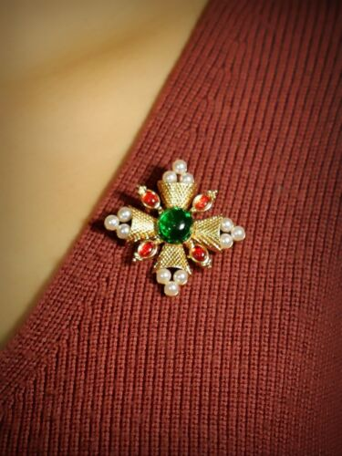 grün rot Perle weiß Barock art deco Retro XZ7 Brosche Stift golden Kreuz Blumen