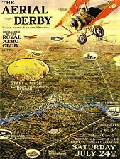 ADVERTISING EXHIBITION AIRSHOW RACE DERBY BIPLANE LONDON UK POSTER PRINT LV738