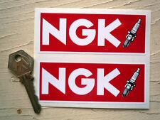 "NGK Red & Spark Plug Car STICKERS 4"" Pair Race Racing Motorcycle Bike Rally WSB"