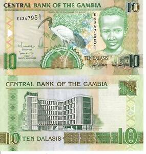 GAMBIA-10-Dalasis-Banknote-World-Paper-Money-UNC-Currency-BILL-Ibis-Bird-p26b