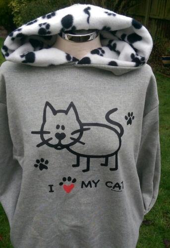 Felpe con Cappuccio, Felpa nelsonashby Grigio/Paw Print amo il mio gatto