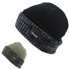 0c9c23bed Details about Thinsulate Hat Fleece Lined Beanie Turn Up Black Green Winter  Warm Knit