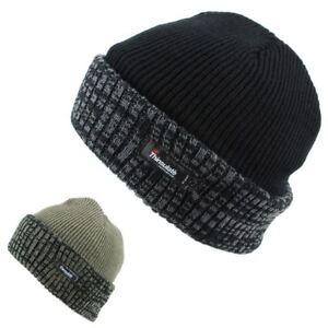 54665dd068f Thinsulate Hat Fleece Lined Beanie Turn Up Black Green Winter Warm ...