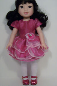 RED Valentine Heart Dress Doll Clothes For 14 AG Wellie Wisher Wishers Debs