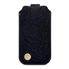 Black Pony Skin & Leather Holder Pouch Case for Apple iPhone 5/5S/SE