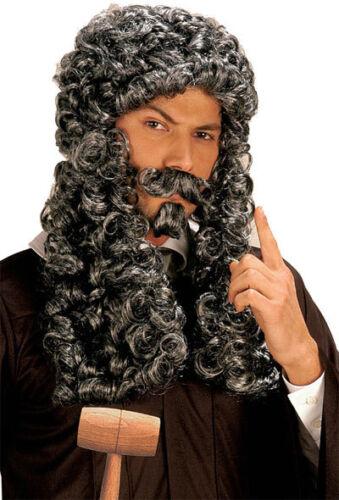 Men/'s Lady Grey Parliament Judge French King Wig Tash Goatee Costume Fancy Dress