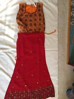 Lehenga Choli Indian Party Dress Maroon Red Saffron Size 6-8 Years