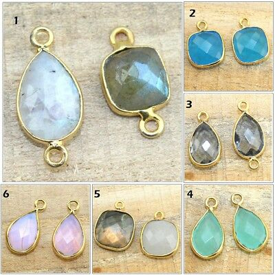Multi Color Natural Fire Labradorite Gold Plated Bezel Connector Making Jewelry