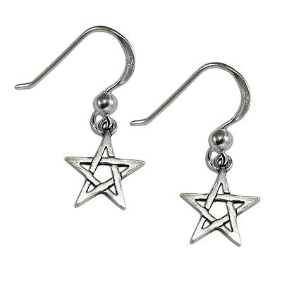 Sterling Silver Pentagram Dangle Earrings Wiccan Wicca Pagan Pentacle Jewelry