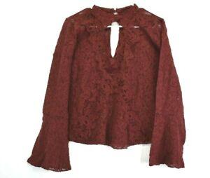 American-Eagle-Outfitters-Women-039-s-Medium-Long-Sleeve-Keyhole-Neckline-Blouse