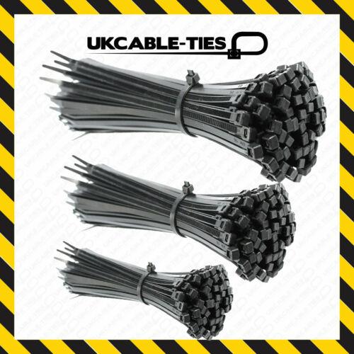 Cable Ties Black 100//140//200//250//300mm Nylon Zip Tie Wraps Various Sizes