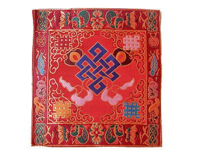 NEPAL Tibetisches Symbol Endloser Knoten rot Altar Decke aus BROKAT