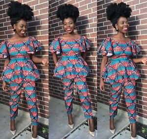 c70b03a7af2 Woman peplum top and high waisted pants veroex African party wear ...