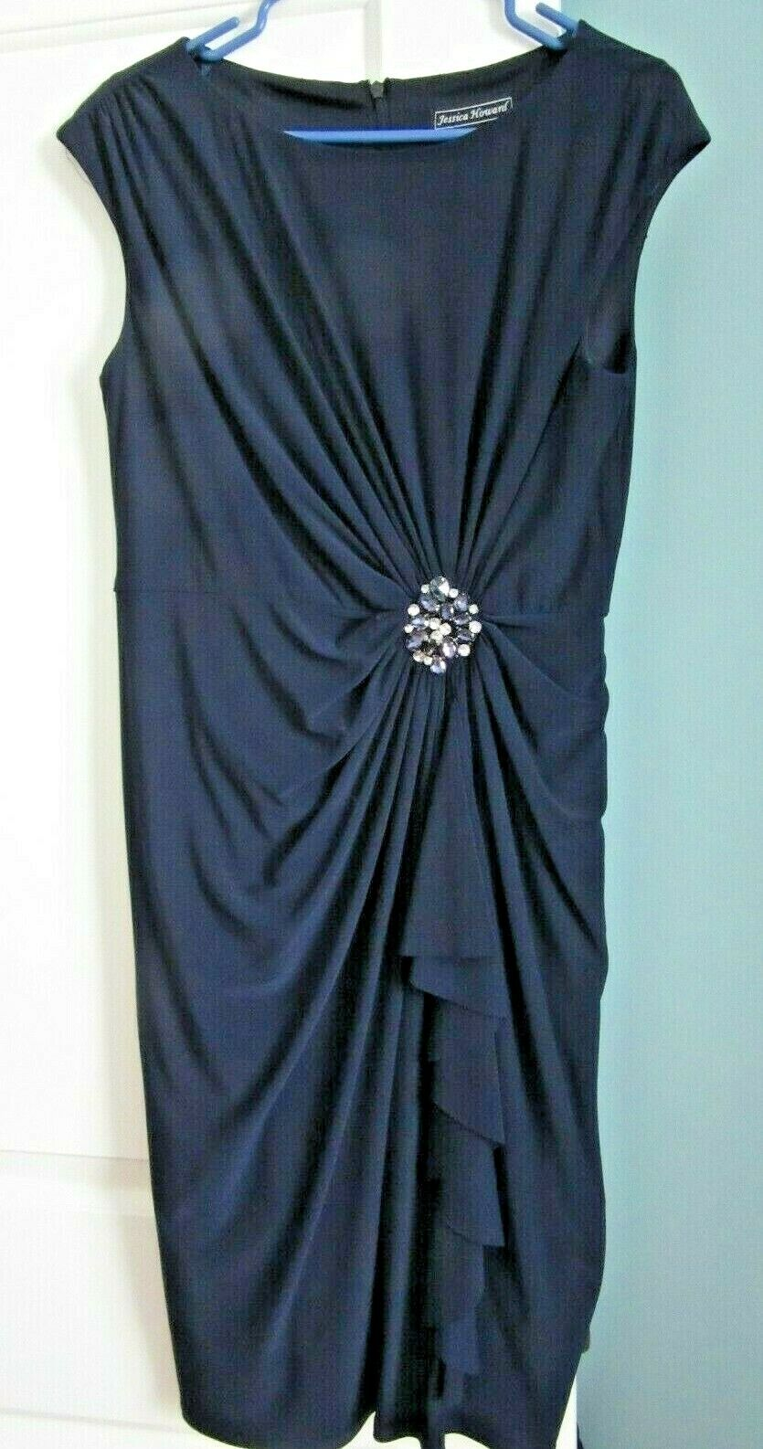 Jessica Howard Cocktail Dress Lined Navy Jersey with Jeweled Waist Feature Sz10