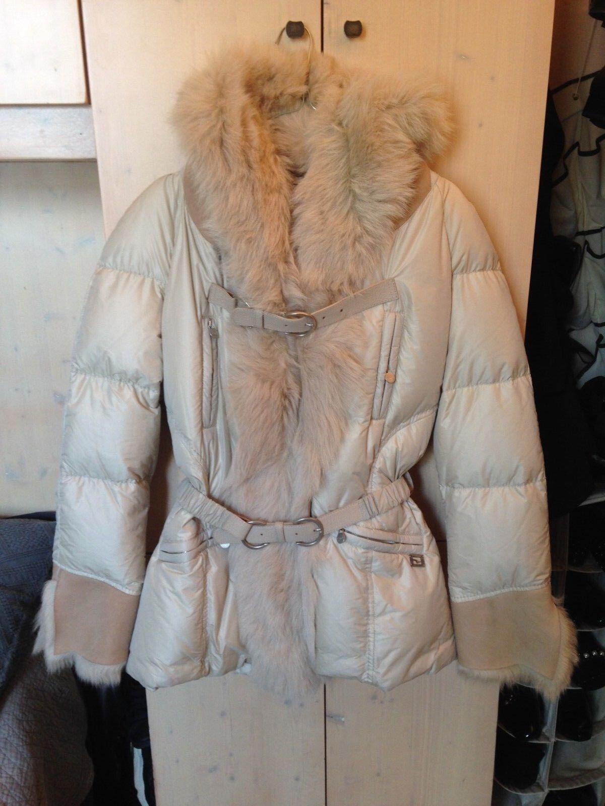 lilaNTI Original Feather Real Fur Hood Belt ny vit Cream 46