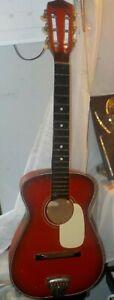 "Vintage Parlor Guitar Global ? Red and Black 30"" 6 String w/ Metal String Plate"