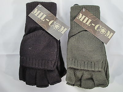 Mil-Com Shooters Mitts Black Green One Size Fits All Fishing Hunting Gloves