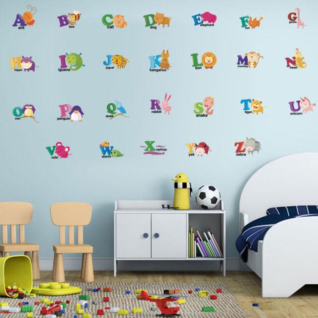 Cartoon Animals ABC Alphabet Wall Stickers Monkey Decals Kids Nursery Decor