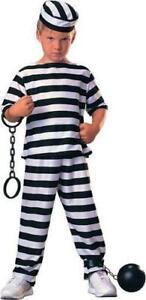 Prisoner Boy/'s Convict Fancy Dress Robber Uniform Kids Child Costume Ages 3-10 Y