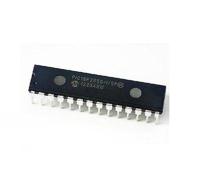 2PCS PIC18F2550-I/SP PIC18F2550 IC PIC MCU FLASH 16KX16 28SDIP NEW DATE CODE:12