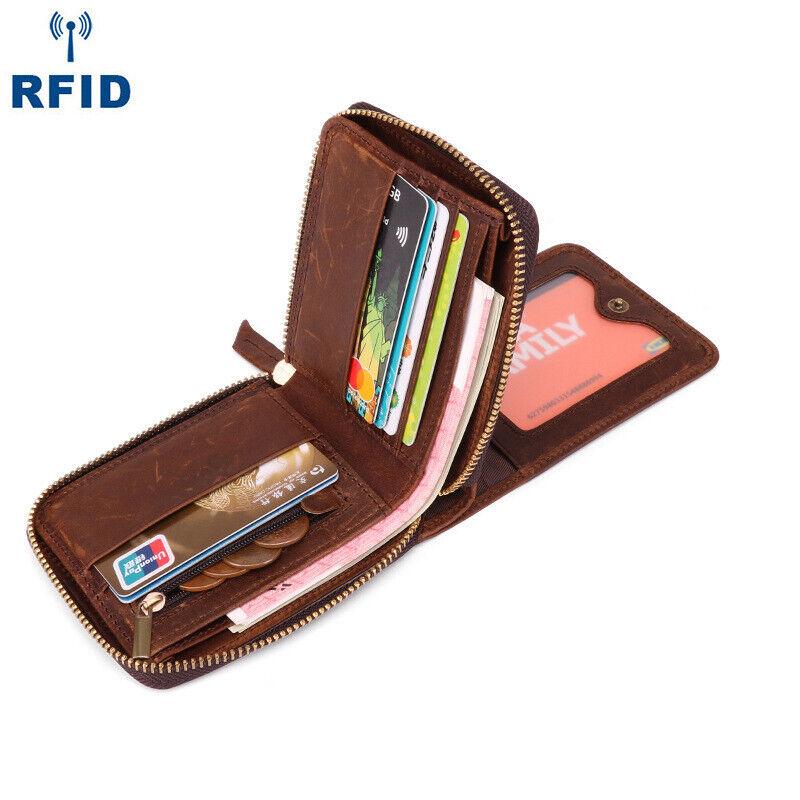 Mens Cowhide Leather Wallet Zipper Billfold RFID Blocking Card Holder Coin Purse
