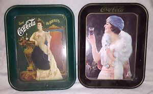 LOT-of-2-Coca-Cola-Trays-1925-1973-Advertisement-Drink-Coca-Cola-in-Bottles