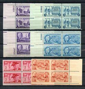 Lot de 6 plaque de blocs de quatre (3 & 5 cent) timbres-très beau-ORIGINAL GUM-Jamais à charnière-Comme neuf