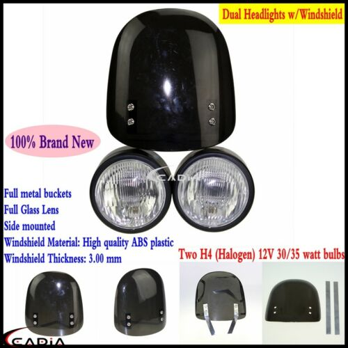 """Dominator Dual 4/"""" Headlight w//Windshield Screen Kit For Streetfighter Motorcycle"""