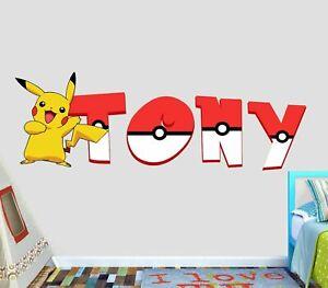 Pokemon Group Custom Vinyl Stickers 3D Wall Decals Name Art VIC71