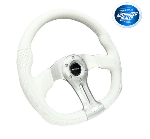 NRG 350MM SPORT OVAL STEERING WHEEL WHITE LEATHER SILVER SPOKES RST-013WT