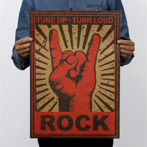 continue rock and roll rock gestures wall sticker nostalgia decor poster NMUS