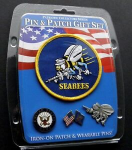 Details about SEABEES US NAVY USN USA 3 PIN AND 1 PATCH GIFT SET LAPEL PIN  BADGE SEABEE