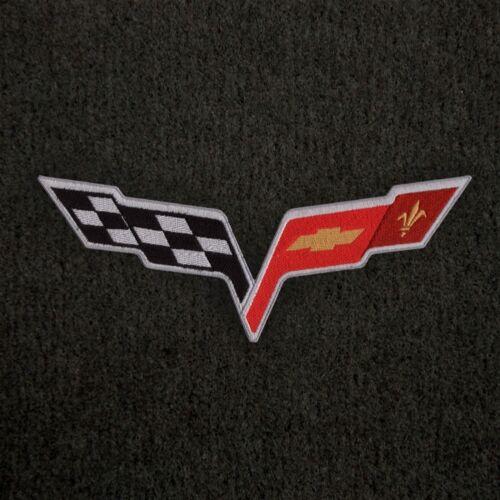 2007-2013 Early Corvette Lloyd Velourtex Front Floor Mats Ebony C6 Crossflags