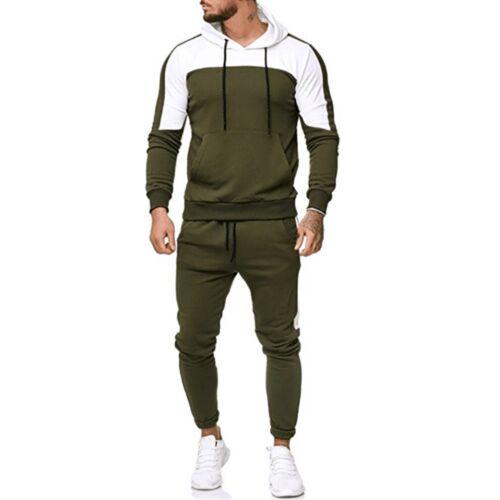 Plus Men/'s Autumn Patchwork Sweatshirt Tops Pants Sets Fit Sports Suit Tracksuit
