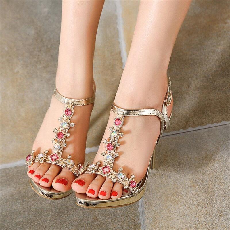 Women Sexy Shiny Rhinestone Open Toe T-strap golden High Heels Casual Sandals