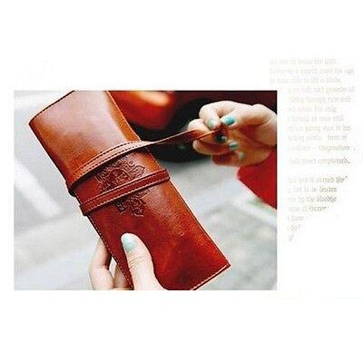 Practical Cosmetic Make Up Pen Pencil Vintage Faux Leather Pouch Purse Bag Case