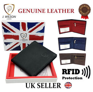 86d775a75f13 Details about MENS LEATHER WALLET DESIGNER J WILSON RFID BLOCKING CREDIT  CARD COIN PURSE