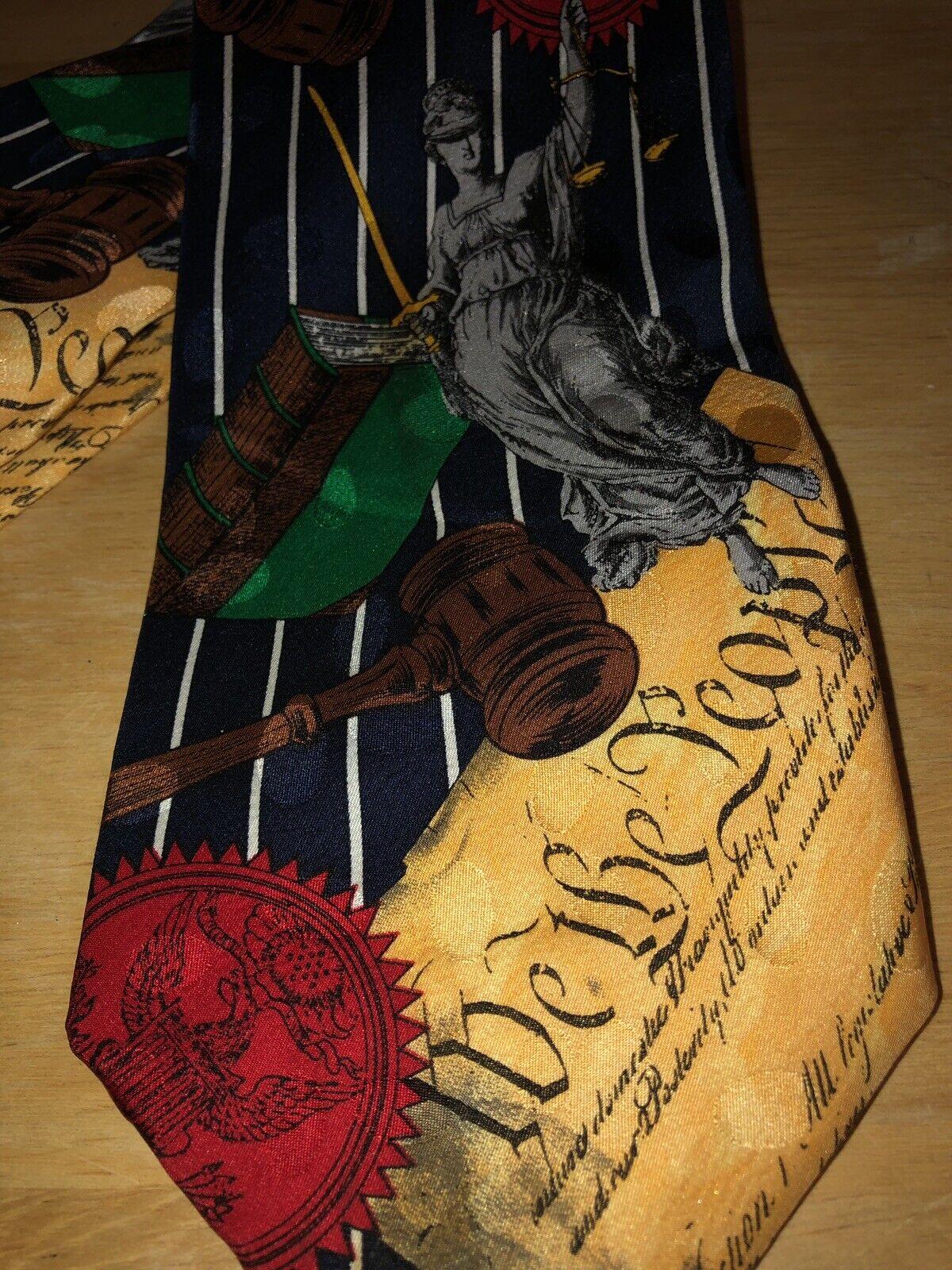 Constitution Lady Liberty Tie 100% Silk Addiction Brand EUC Pre Loved