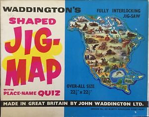 Waddingtons Jig Map Jigsaw Puzzle North American Continent America