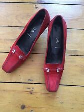 Prada Red Suede Buckle And Stitch Detail Kitten Heel Shoe Size 37
