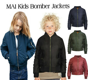 New-Girls-Bomber-Jacket-Kids-Ma1-Pockets-Padded-Pilot-Coat-Children-Biker-Top