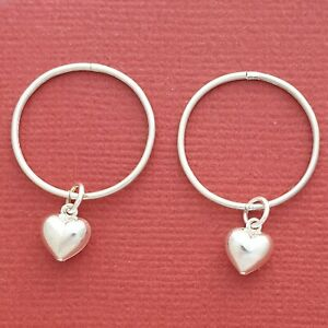 Sterling-Silver-Sleepers-Heart-Earrings-20mm-Hinged-love-hoops-New-large-thin